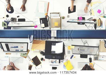 Working Progress Office Digital Device Corporate Concept