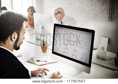 Businessman Working Analyzing Information Concept
