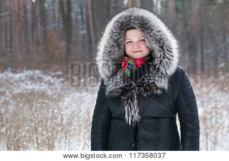 Woman Saunters In The Winter Forest.
