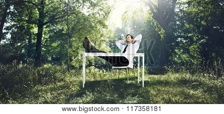 Businessman Working With The Nature Concept
