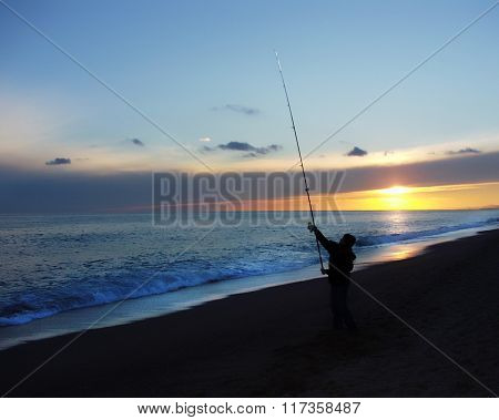 Fisherman enjoys fishing