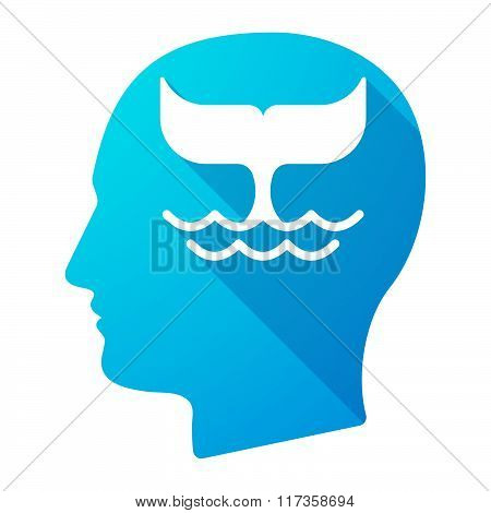 Male Head Icon With A Whale Tail