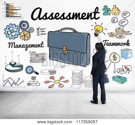 Businessman Drawing Assessment Evaluation Concept
