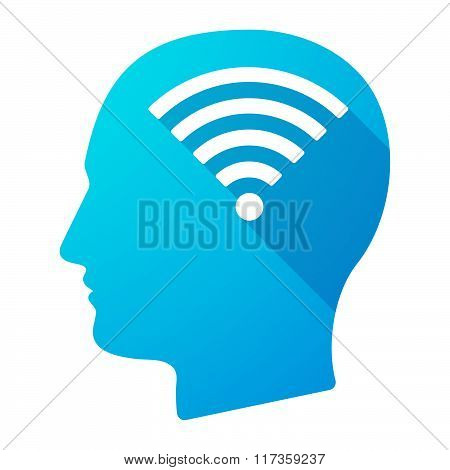 Male Head Icon With A Radio Signal Sign