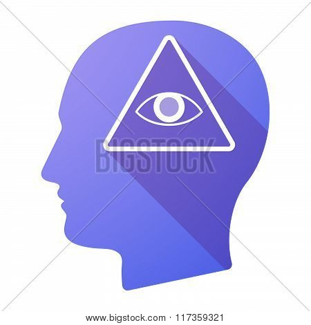 Male Head Icon With An All Seeing Eye