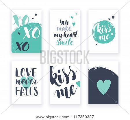 Heart shape cards set