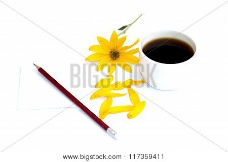 Still Life A Cup Of Coffee, A Pencil With Paper And A Yellow Flower