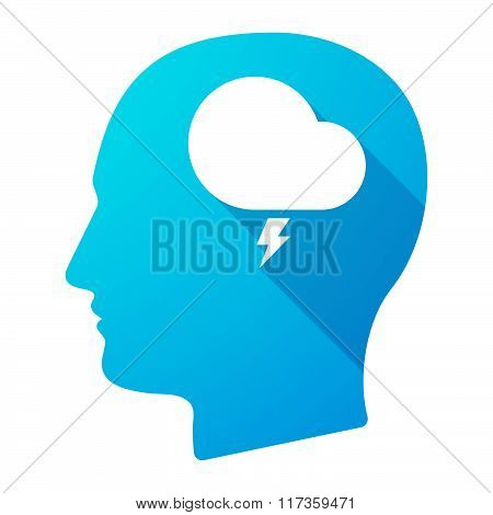 Male Head Icon With A Stormy Cloud