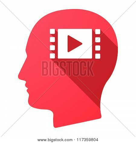Male Head Icon With A Multimedia Sign