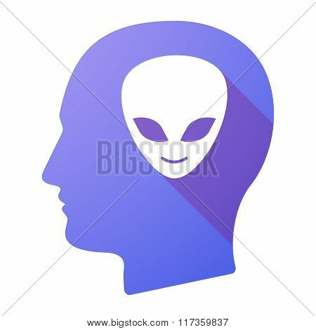 Male Head Icon With An Alien Face