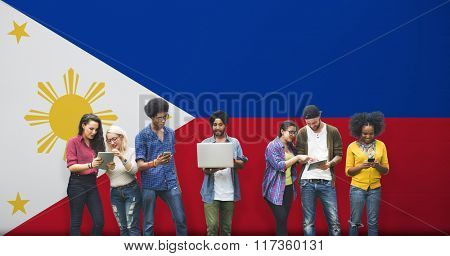 Philippines National Flag Studying Diversity Students Concept