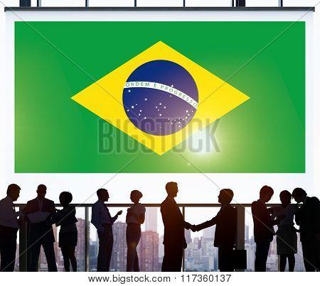 Brazil National Flag Business Communication Concept