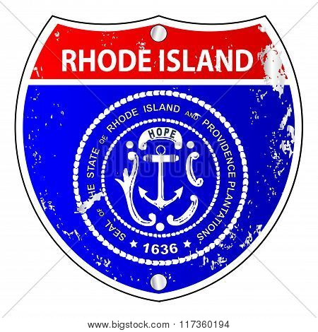 Rhode Island Flag Icons As Interstate Sign