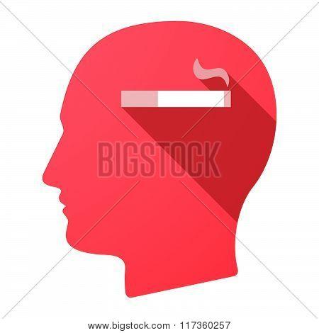 Male Head Icon With A Cigarette
