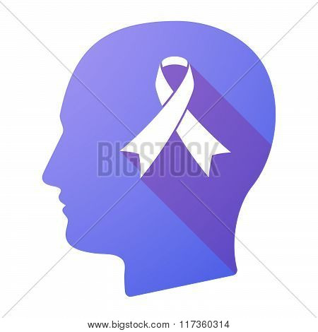 Male Head Icon With An Awareness Ribbon