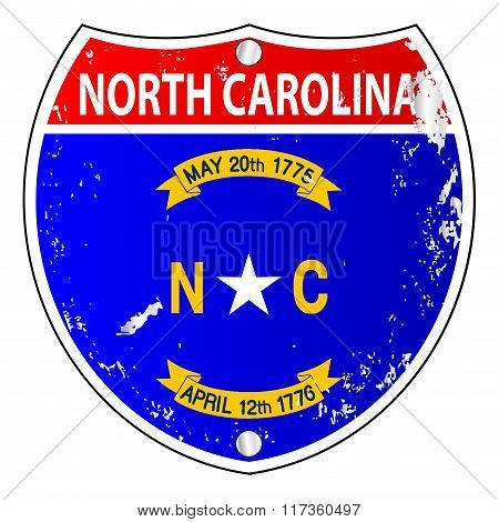 North Carolina Flag Icons As Interstate Sign