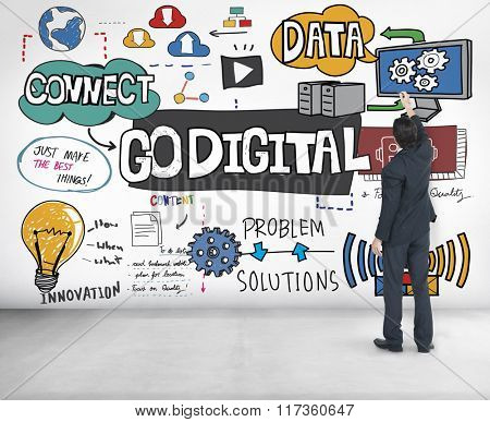 Go Digital Technology Information Network E-business Concept