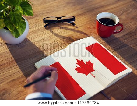 Canada National Flag Studying Reading Book Concept