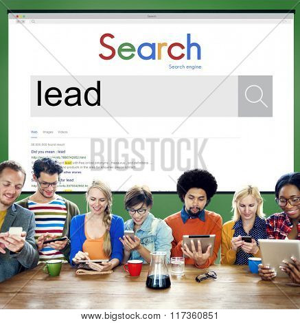 Team Using Technology Browsing Search Concept
