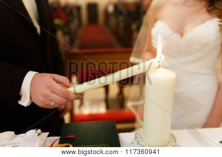 Stylish Cute Groom And Bride  On The Background Old Gothic Church