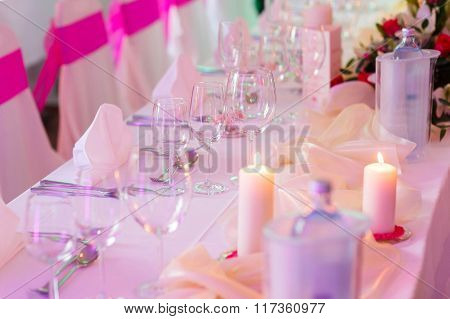 Romantic Decoreted Table With Candles And Flowersfor Celebration Specially Occasion