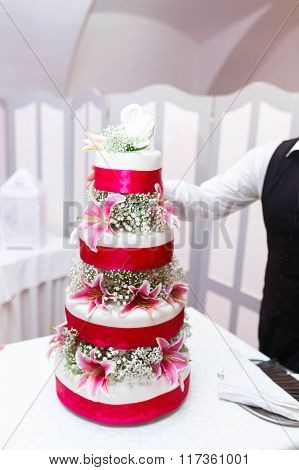 Amazing Tasty Cake Decorated With Adorning Swans , Pink Lilies And Ribbons
