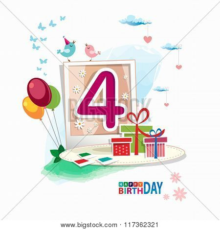 Fourth Birthday Card. Celebration Background With Number Fourth