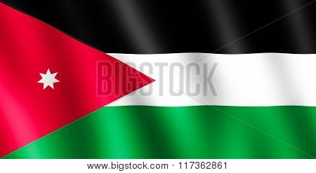 Flag Of Jordan Waving In The Wind