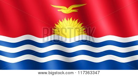 Flag Of Kiribati Waving In The Wind