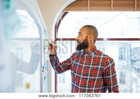 Profile of handsome african man with beard standing and writing on whiteboard