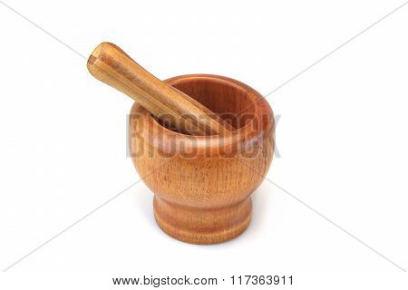 Single Vintage Wooden Mortar And Pestle Isolated, Top View, Closeup