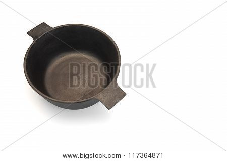 New Empty Classic Cast Iron Dutch Oven Or Pot Isolated