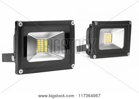 Two Outdoor Waterproof Led Floodlight Isolated On White