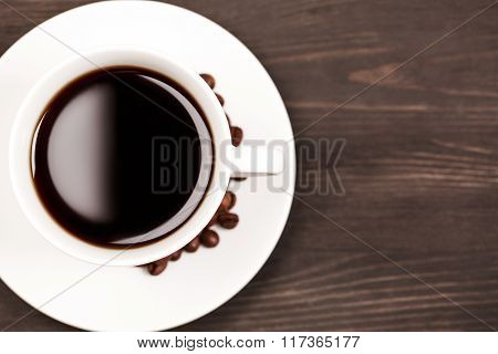 White cup of coffee, top view
