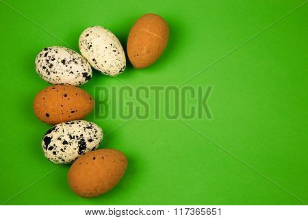 Easter Decoration With Six Eggs Isolated Green