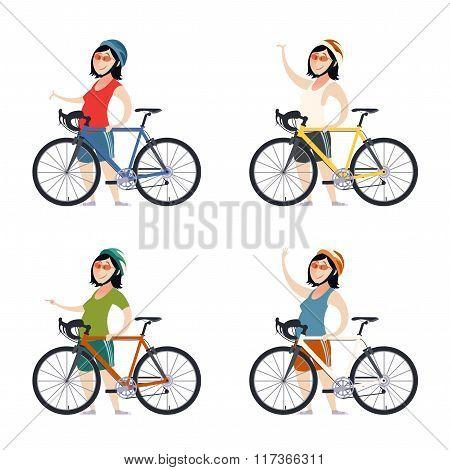 Set of cyclist women