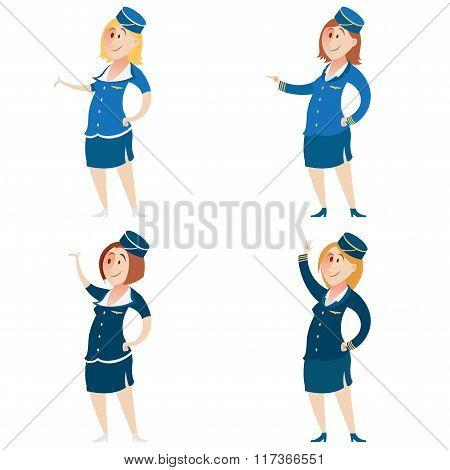 Set of Stewardess
