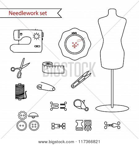 Vector line sewing icon set. Outlined needlework vector icon set