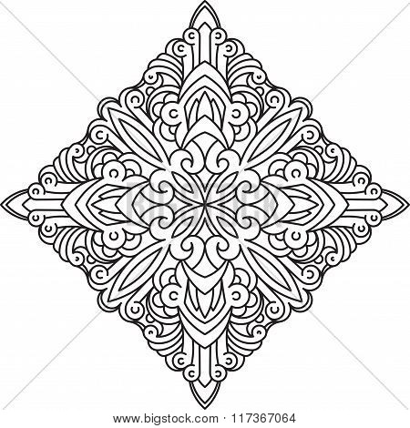 Abstract Vector Black Square Lace Design In Mono Line Style - Mandala, Ethnic Decorative Element. Ca