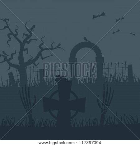 Zombies night vector background