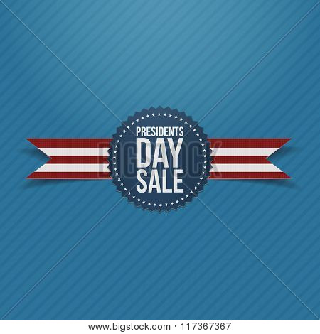 Presidents Day Sale round Label and Ribbon
