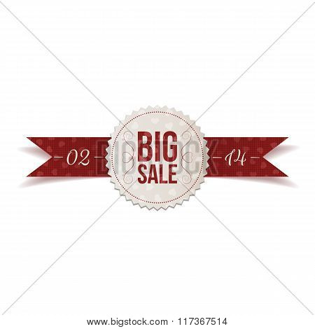 Valentines Day Big Sale Label and Ribbon