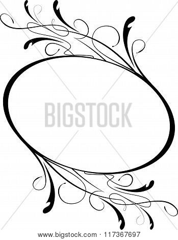 Elegant Oval Floral Vector Frame For Your Design Or Text.