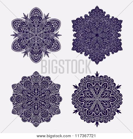 Set Of Abstract Vector Black Round Lace Designs - Mandalas, Ethnic Decorative Elements. Can Be Used