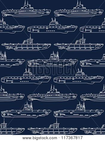 Seamless Pattern With Submarines