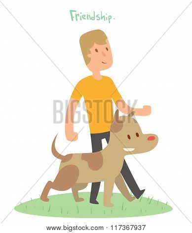 Boy and dog friends vector illustration