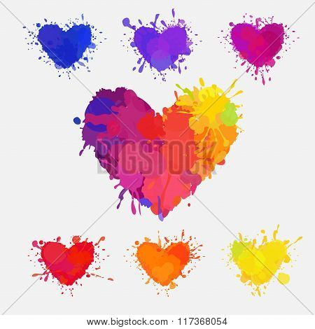 set of colorful messy hearts