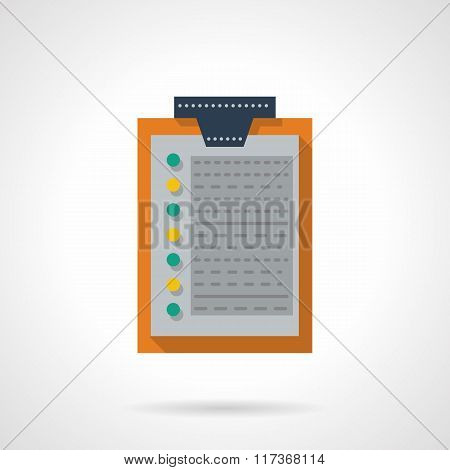 Flat color clipboard with document vector icon