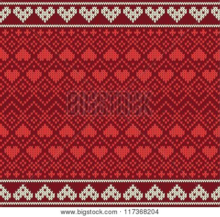Seamless pattern on the theme of Valentine's Day with an image of the Norwegian patterns and hearts.