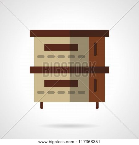 Bakery oven flat color design vector icon